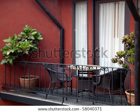table and armchair at out door balcony
