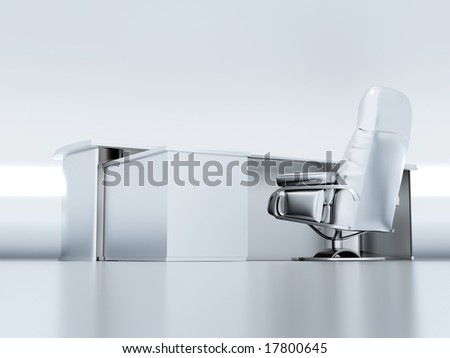 table and armchair on a white background executed in a metallic style