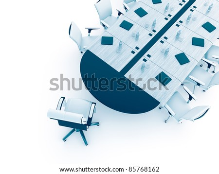 Table and armchairs in modern office for presentation and conferences - stock photo