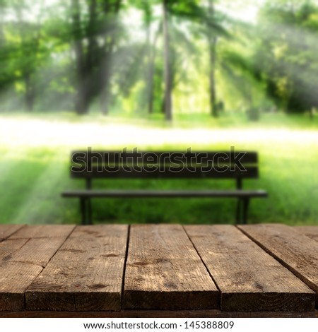 table and bench - stock photo