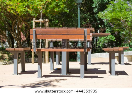 table and bench in the city park