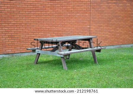 Table and benches - stock photo
