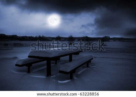 Table and benches covered with snow in moonlight