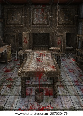 Table and bucket with blood in an old abandoned morgue - stock photo