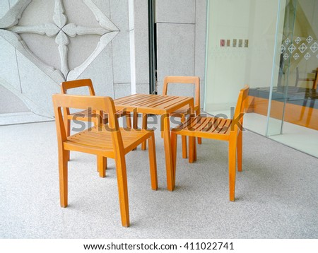 Table and chair at cafe or restaurant.