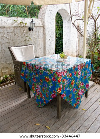 Table and chair at garden