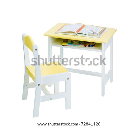 Table and chair in yellow sweet color fit boy and girl to enjoy there study in the classroom, an image isolated