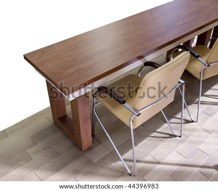 Table and chairs for office. White background. To conduct a press conference and business planning. - stock photo