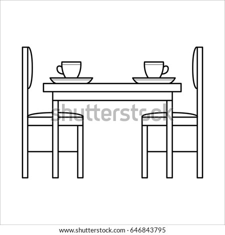 Table And Chairs In Dinning Room Flat Icon Simple Outline Style Interior Element