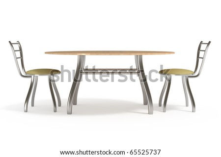 Table and chairs, isolated on white, with clipping path, 3d illustration - stock photo