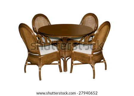 Table and chairs on white background - stock photo