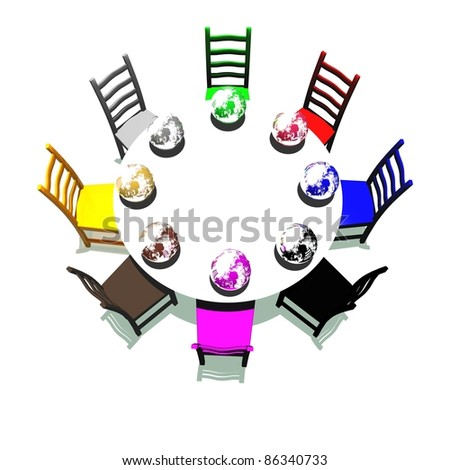 Table and chairs with many colors for a meeting about earth - stock photo