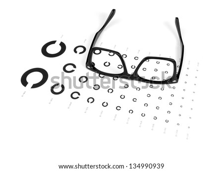 Table and glasses for eye exams. - stock photo