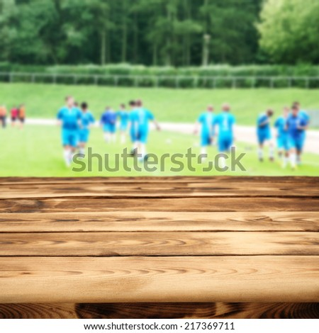 table and goal  - stock photo