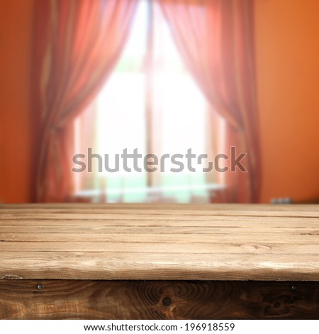 table and red window  - stock photo