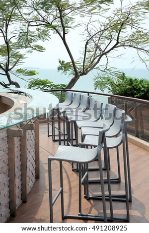 table and sea view