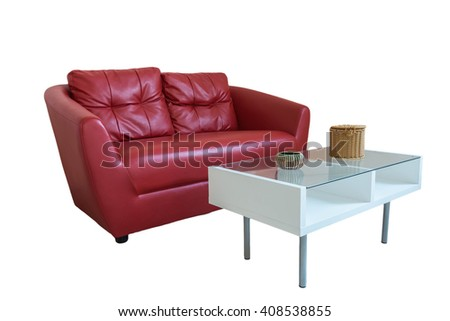 Table and sofa on a white background.