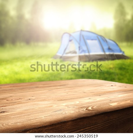 table and tent  - stock photo