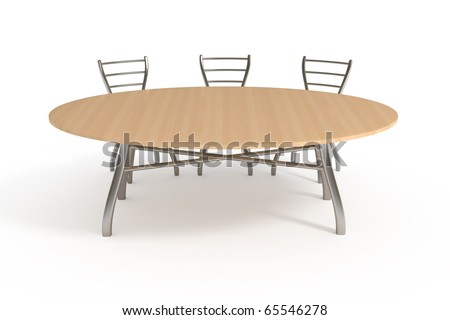 Table and three chairs, isolated on white with clipping path - stock photo