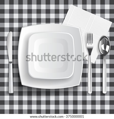 table appointments template square empty plates stock illustration