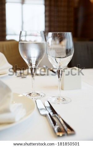 Table arrangement in an expensive haute cuisine restaurant - stock photo