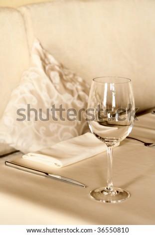 Table arrangement in restaurant, toned - stock photo