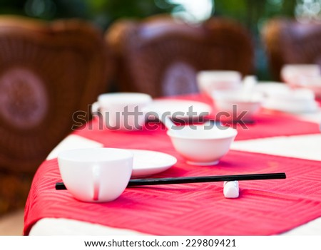 Table at a chinese restaurant - stock photo