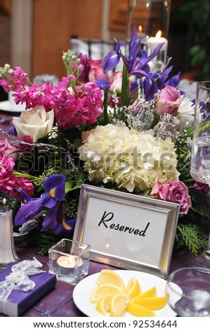 Table at a wedding reception