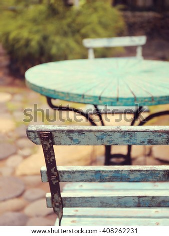 table at summer terrace restaurant - stock photo