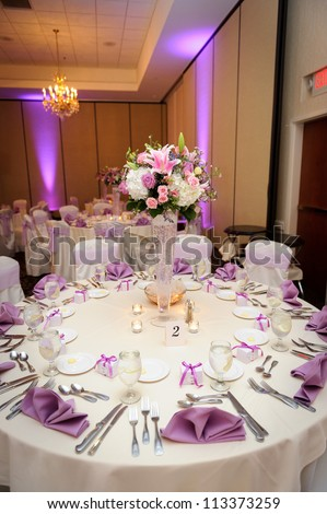Table at the wedding reception - stock photo