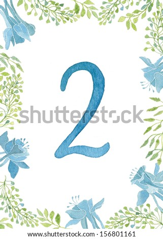Table cards numbers for an elegant wedding in floral style. Green leaves and blue flowers frame painted with watercolor.  - stock photo