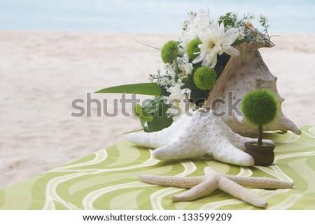 table center piece. wedding table decoration - stock photo