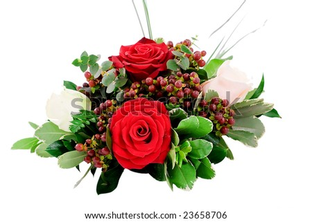 table centerpiece made of red and white roses - stock photo
