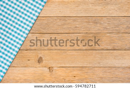 Table Cloth Blue Cover On Wooden Table Background With Copy Space For Text.