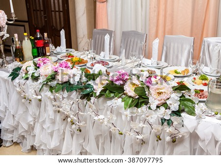 Table decor with flowers - stock photo