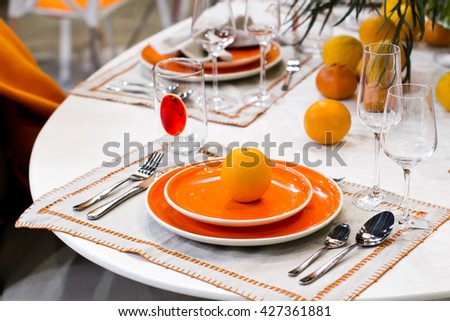 Table decoration for meal time in restaurant - stock photo