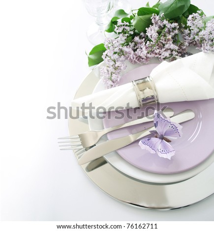 Table decoration in lilac - stock photo