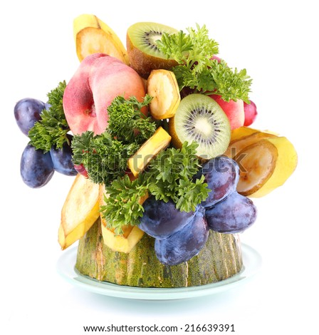 Table decoration made of fruits isolated on white