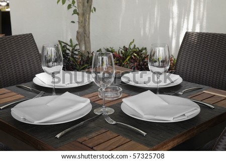 Table detail at a restaurant - stock photo