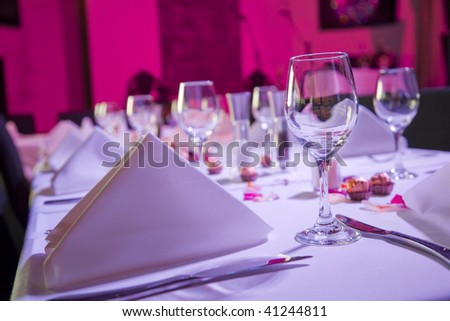 Table dressed up for wedding reception - stock photo