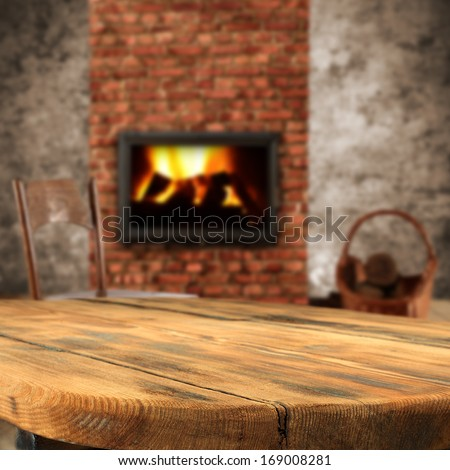 table fireplace and chair