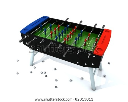 Table football with blue and red players isolated on white background