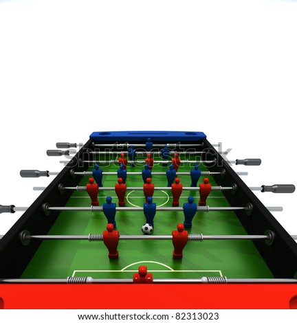 Table football with blue and red players isolated on white background - stock photo