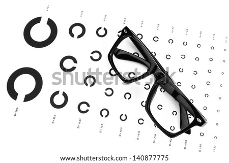 Table for an eye examination by an ophthalmologist with symbols. Dark glasses. - stock photo