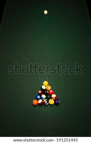 Table for billiards and ball top view - stock photo
