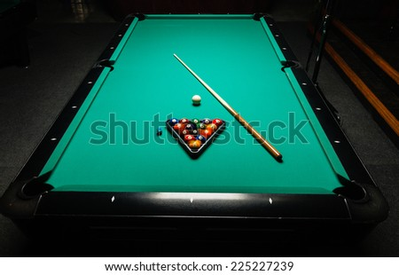 Table for billiards and ball top view. - stock photo