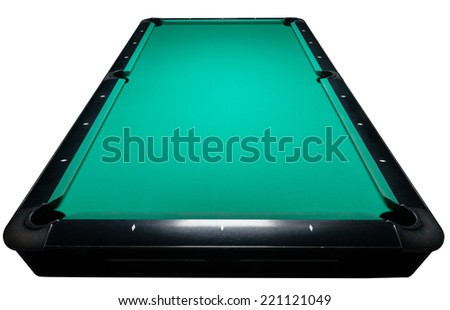 Table for billiards and ball top view. Isolated white. Clipping path included - stock photo