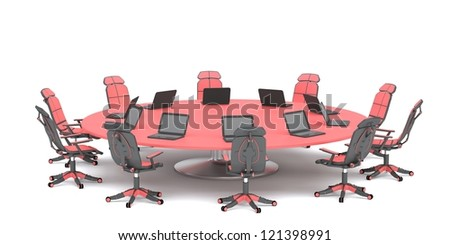 Table for business conferences on a white background. - stock photo