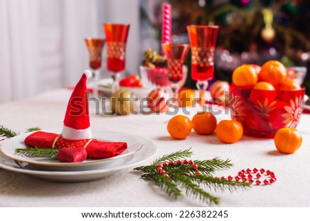 table for Christmas Eve - stock photo