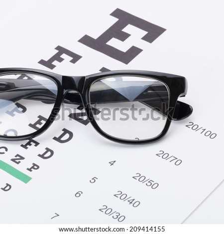 Table for eyesight test with glasses over it - 1 to 1 ratio - stock photo